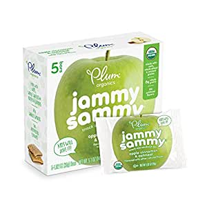 Plum Organics Jammy Sammy, Organic Kids Snack Bar, Apple Cinnamon & Oatmeal, 5.1 oz, 5 bars (Pack of 6)