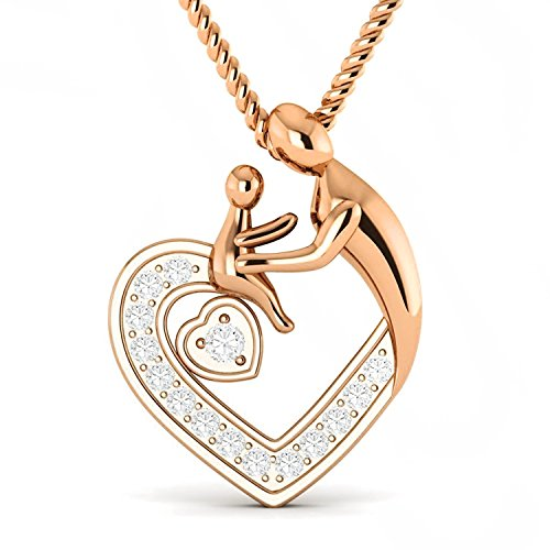 Mothers Day Special 0.15 Carat Natural Real Diamond Mom Child Heart Pendant 10K Gold With Free (0.15 Ct Natural Diamond)