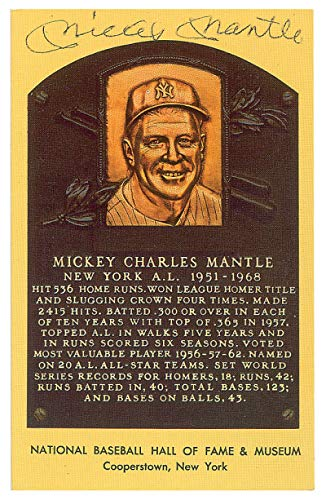 Mickey Mantle Signed Autographed HOF Plaque Card PSA/DNA