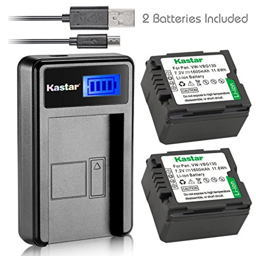 Kastar Battery (X2) & LCD Slim USB Charger for Panasonic VW-VBG070, VW-VBG130, VWVBG260 and SDR-H40, SDR-H80 Series, HDC-HS700, TM700, HS300, TM300, HS250, SD20, HS20, HDC-SDT750 Camcorders etc. by Kastar