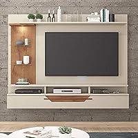 Painel para TV até 60 Polegadas com LED 1 Porta Lisboa Permobili Off White/Savana