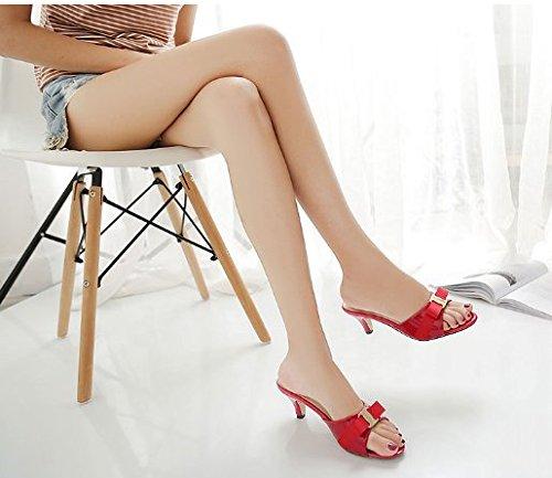 With Open Verano Rojo Heel Fine Para Bow Tie Toe High Chanclas Mujer Awxjx HU0IqI