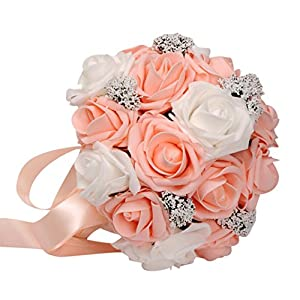 Transer Crystal Roses Pearl Bridesmaid Wedding Bouquet Bridal Artificial Silk Flowers (Orange) 35