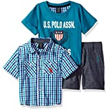 U.S. Polo Assn. Baby Boys' Sleeve Sport Shirt, T-Shirt and Twill Short Set, Multi Plaid, 18M