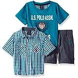 U.S. Polo Assn. Baby Boys' Sleeve Sport Shirt, T-Shirt and Twill Short Set, Multi Plaid, 18M