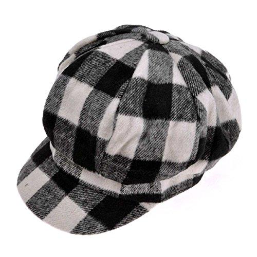 Womens Classic Plaid Newsboy Caps Visor 8 Panel Gatsby Apple Cabbie Hat, White ()
