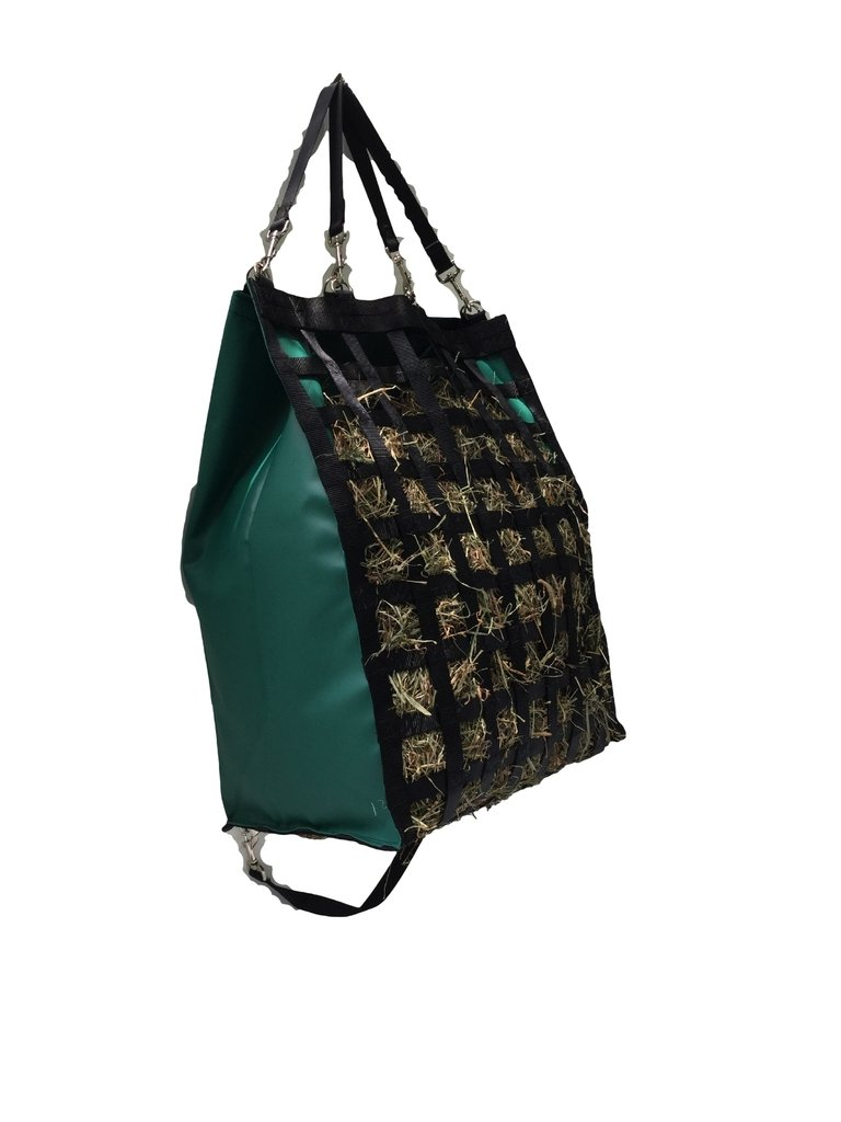 The Original NibbleNet 12''XL deep w/ 1.5'' Slow Feed Hay Bag by Thin Air Canvas, Inc. = Green