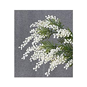 5 Pcs Australia Acacia Yellow Mimosa Pudica Spray Silk Flower Artificial Flower Wedding Flower Party Event Decor,5Pcs White,Total 57Cm 1