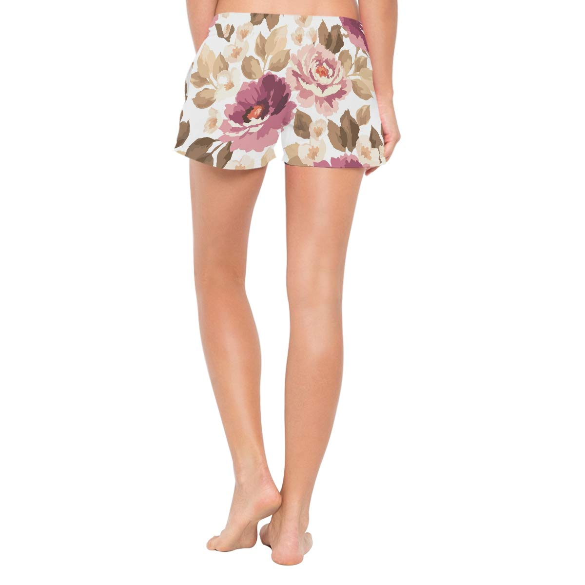 NWTSPY Pink Flowers Womens Sport Beach Swim Shorts Board Shorts Swimsuit with Mesh Lining