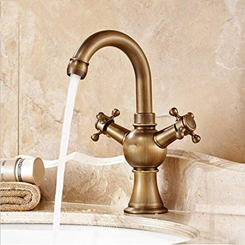 (2 Handle Centerset Bathroom Faucet, European Style Copper Antique Hot and Cold Water Faucet, Vacuum PVD Plating Surface)