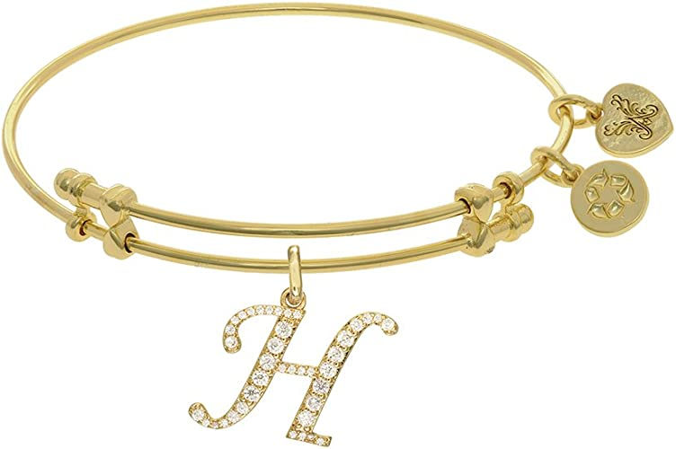 Angelica Yellow Tone Brass Family Adjustable Bangle 7.25 Inches