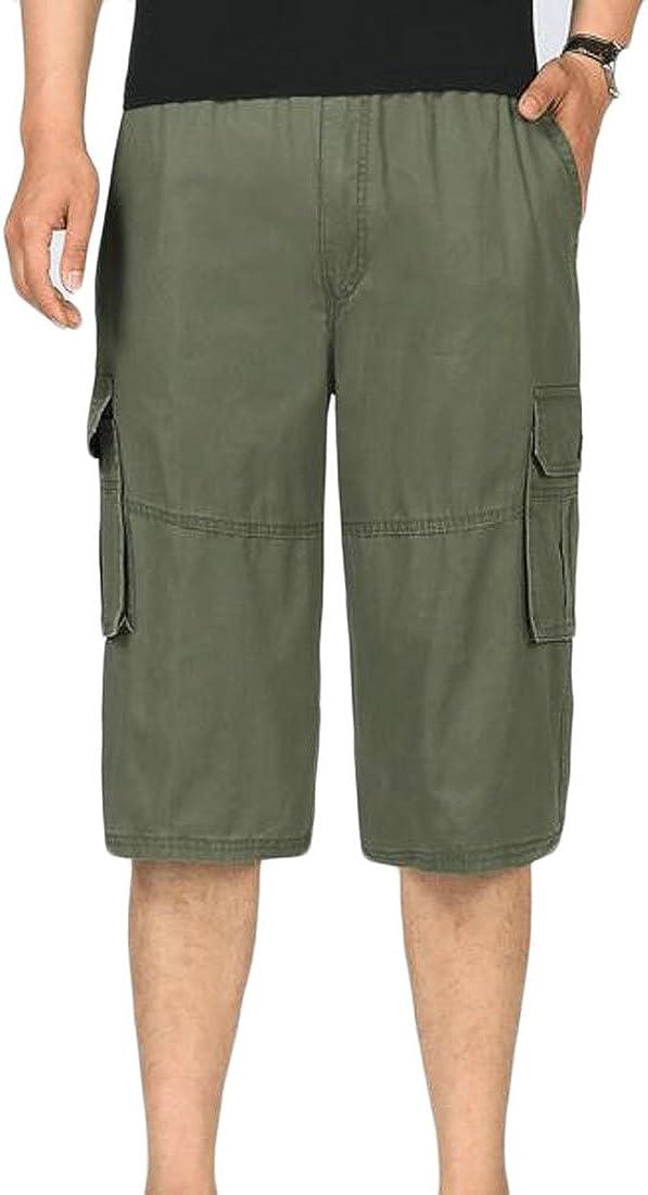 CMCYY Men Oversize Classic Fit Capri Pants Multi Pocket Cargo Shorts Shorts