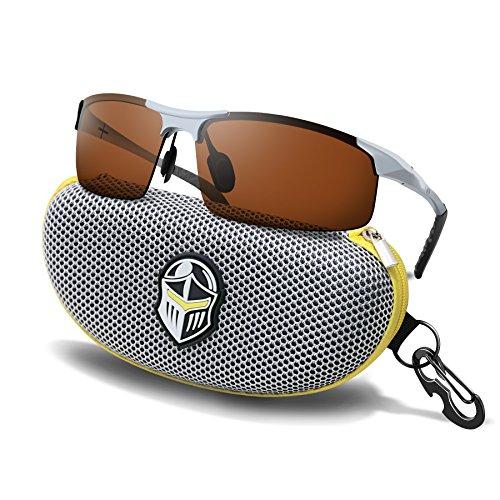 BLUPOND Polarized Anti-Glare Copper Lens Daytime Driving Sports Sunglasses + Metal & Semi-Rimless for Men & Women Eyewear (SilverCopper) ()