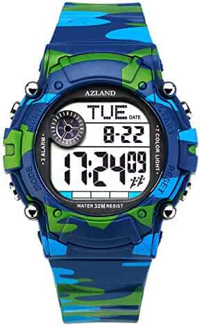 AZLAND 7 Colors Flashing, 3 Multiple Alarms Reminder Sports Kids Wristwatch Waterproof Boys Girls Digital Watches (Camo)