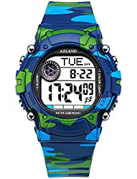 7 Colors Flashing, 3 Multiple Alarms Reminder Sports Kids Wristwatch Waterproof Boys Girls Digital Watches (Camo)