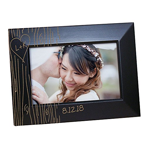 "GiftsForYouNow Natural Pine Tree Carving Personalized Photo Frame, 4"" by 6"", Black"