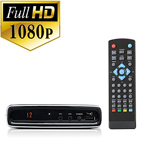 eXuby Digital Converter Box + RCA AV Cable for Recording and Watching Full HD Digital Channels - Instant & Scheduled Recording, 1080P, HDMI Output, 7 Day Electronic Program Guide by eXuby