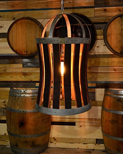 rustic wine barrel chandelier with seeded glass and edison bulb