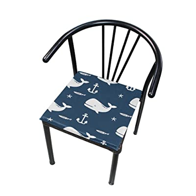 Bardic FICOO Home Patio Chair Cushion Animal Whale Fish Anchor Square Cushion Non-Slip Memory Foam Outdoor Seat Cushion, 16x16 Inch: Home & Kitchen