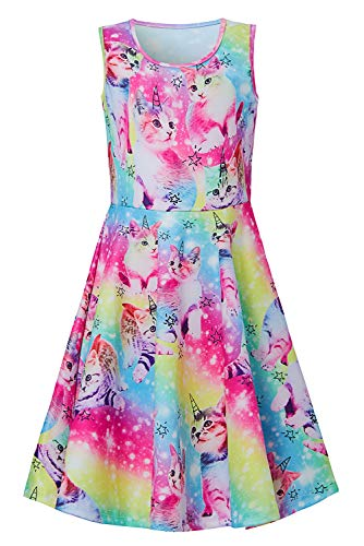 Girls Colourful Cats Dress Casual Puss Star Crew Neck Slim Fit Twirl Dresses Fall School Beach Outfit Costume Gift for Kid Preschooler Daughter 6-7 Years Old -