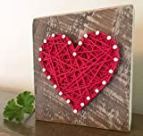 Sweet & small wooden red string art heart block sign. Perfect for home accents, Wedding favors, Anniversaries, housewarming, teacher, congratulations & just because. by Nail it Art