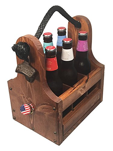 Personalized Rustic Wood Beer Caddy with Bottle Opener and Magnetic Cap Catch - Holds standard 12oz beer or soda bottles and cans