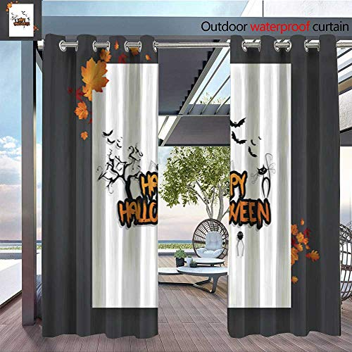Outdoor CurtainHalloween-Vector-Poster-Flyer-with-autumn-leaves--and-Happy-Halloween-lettering-with-grungy-font-3.jpg Room Darkening Waterproof Curtain for Indoors