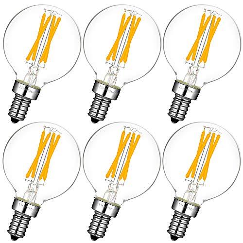 LiteHistory Dimmable g16.5 led Bulb Candelabra g16 1/2 Bulbs 40w 2700K g50 e12 Globe Bulb 6Pack