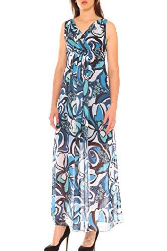 Donna Georgette Floreale Vestito Blu In A Lungo Fantasia Impero vFFntqz