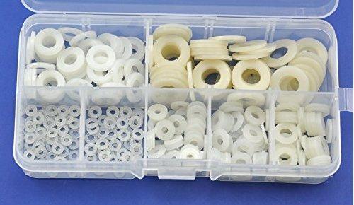 Nylon Round Washer Assortment Kit, For M2 M2.5 M3 M4 M5 M6 M8 screw/bilt-White