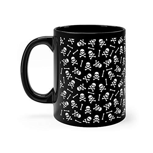 Halloween Pattern With Skulls And Bones Pirate Seamless Water Mug Ceramic 11oz Cups