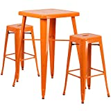 Flash Furniture 23.75'' Square Orange Metal Indoor-Outdoor Bar Table Set with 2 Square Seat Backless Stools