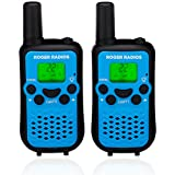 ROGER RADIOS Walkie Talkies for kids. Blue. Range up to 5KM, 22 Channels. Plain English Instructions. Durable UHF FRS/GMRS Handheld two-way 2-way fun. (Batteries Not Included.)