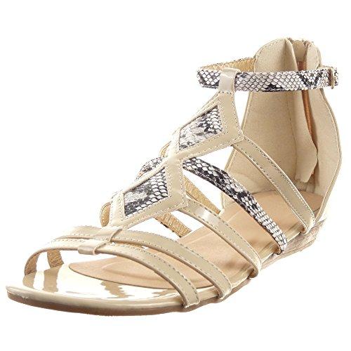 Schlangenhaut Zaum damen Schleife Multi Schuhe Mode Sopily Sandalen Offen Beige XTpwfx