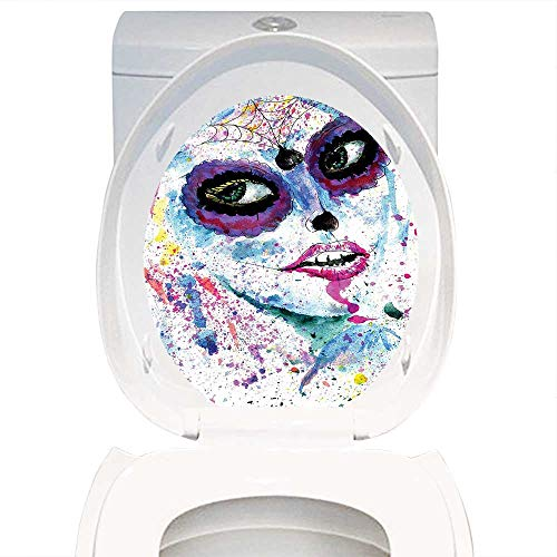 Qianhe-Home Toilet Seat Wall Stickers Paper Girly Decor Grunge Halloween Lady with Sugar Skull Make Up Creepy Dead Face Gothic Woman Artsy Print Blue Purple. Decals DIY Decoration W13 x -