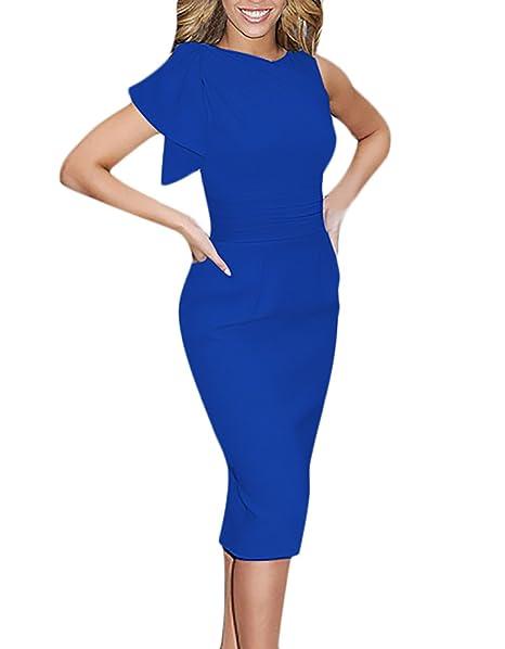 Mujer Vestidos De Fiesta De Coctel Elegantes Medium Largos Vestido Sin Mangas Volantes Slim Fit Ajustado