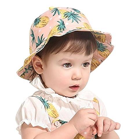 Girls Bucket Hats Fisherman's Hat Baby UfO Cotton Sweet Beanie Ruffle Caps Ananas Pink - Summer Infant Sweet
