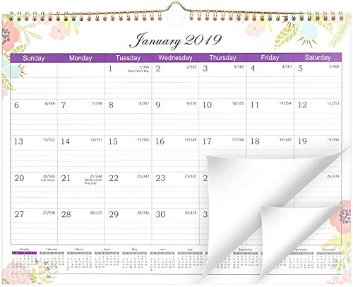 2019 Calendar - Wall Calendar with Julian Date, Thick Paper Perfect for Organizing & Planning, Ruled Blocks, 11.5 x 15 Inches, Sturdy Gold Wirebound - Lemome