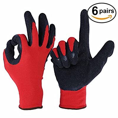 Nitrile Gloves, OZERO Garden Work Glove with Nylon Shell for Farming, Warehouse, Repairment - Snug Fit - Ultimate Grip and Light Weight for Men and Women - 6 Pairs Pack (M/L/XL)