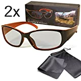 2x Passive 3D Movie & TV Glasses Unisex Black / Orange Circularly Polarized For Reald 3D Cinema and Passive 3D Tvs Like Lg Cinema 3d Philips Easy 3D Sony Toshiba Panasonic Grundig Hisense Finlux etc