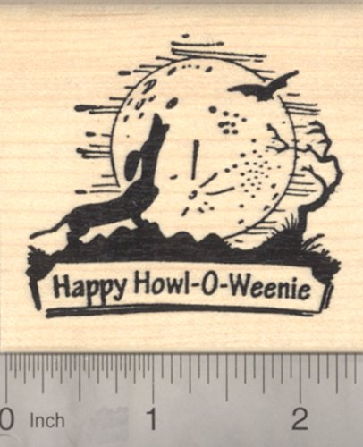 Halloween Dachshund Dog Howling at the Moon, with Bat and Howl-o-weenie saying -