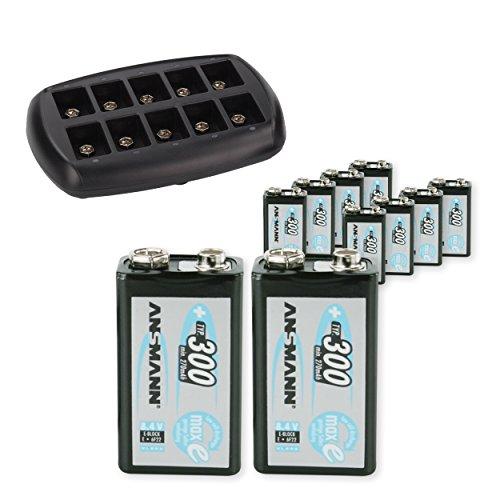 ANSMANN 10-Bay 9V Battery Charger Smart Charger for 9 Volt Batteries + NiMH 9V Batteries Low Self-Discharge (10-Pack)