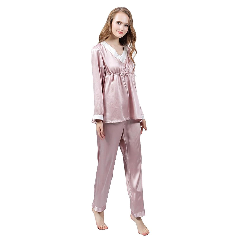 LULUSILK Damen 19 Momme Seide Langarm Nachtwäsche Nachthemd Pyjama Set