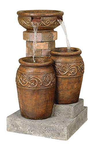 John Timberland Tuscan Outdoor Floor Water Fountain with Light LED 31 1/2