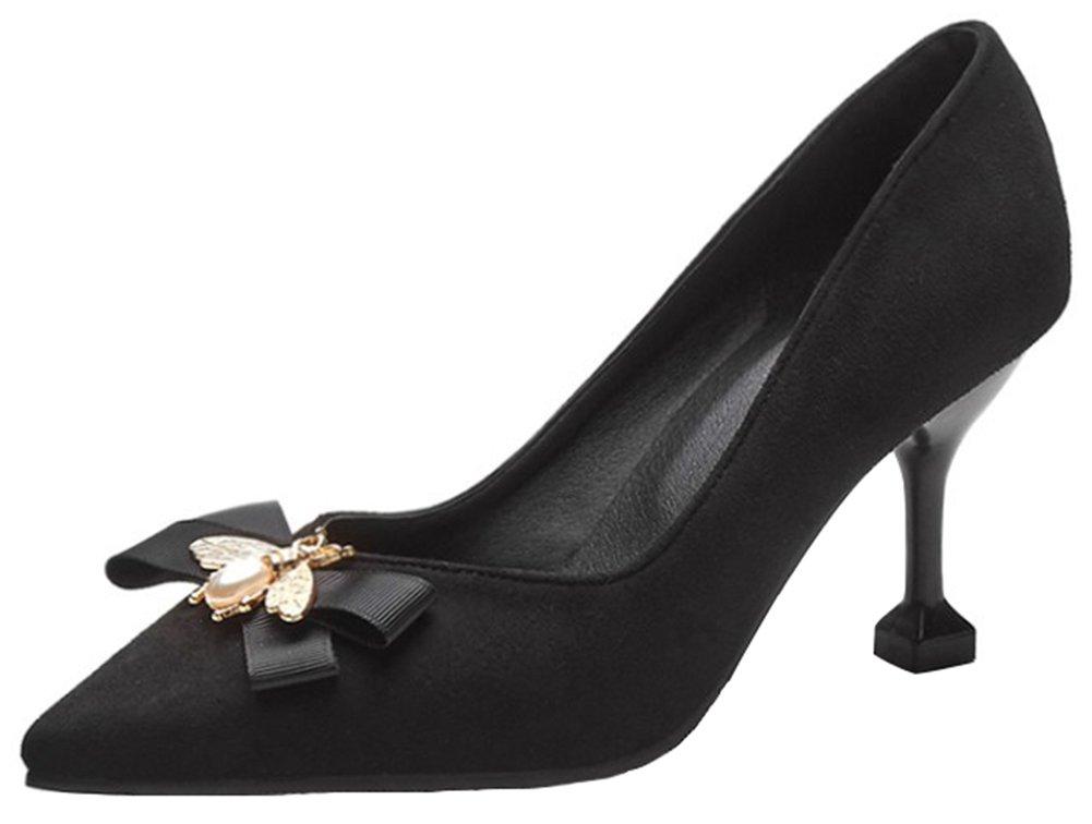 Mofri Women's Fashion Faux Suede Rhinestone Bow Pointed Toe Low Cut Stiletto High Heels Slip on Pumps Shoes (Black, 13 B(M) US)