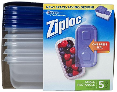 Ziploc One Press Seal Small Rectangle Container – 5 ct