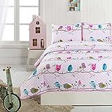 Little Maisy Quilt Set Bedspread Elephants, Birds, Children Kids Tweens (Birds, Full/Queen)