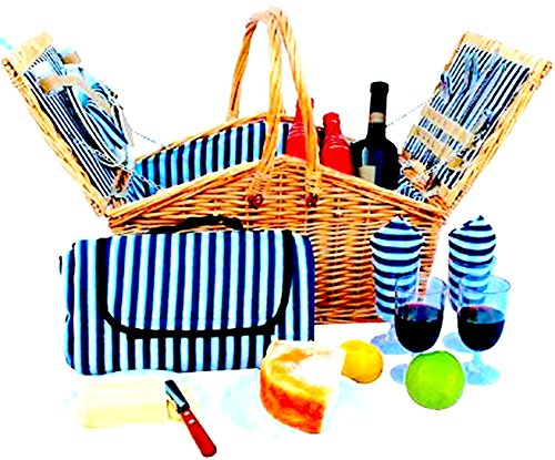 Picnic Basket Set for Men and Woman | Wicker Picnic Basket for 4 Person | Waterproof Picnic Blanket Ceramic Plates Metal Flatware Wine Glasses S/P Shakers Bottle Opener Blue Stripe Lining Kids Picnic