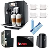 Jura Giga 5 Piano Black Automatic Combination Espresso Center + (4) 3oz Ceramic Tiara Espresso Cup and Saucer + JURA 70878 Cool Control Basic (34 oz.) Temperature controlled milk container + Jura Capresso Cup Warmer Black Stainless Steel + Focus Git Card