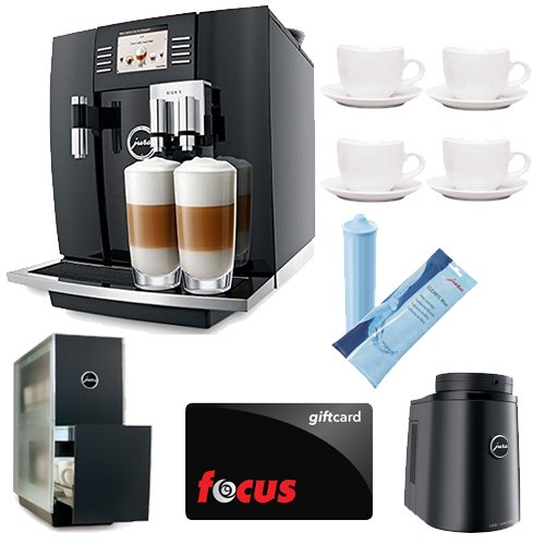 Jura Giga 5 Piano Black Automatic Combination Espresso Center + (4) 3oz Ceramic Tiara Espresso Cup and Saucer + JURA 70878 Cool Control Basic (34 oz.) Temperature controlled milk container + Jura Capresso Cup Warmer Black Stainless Steel + Focus Gift Card